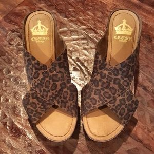 Cheetah print wedge sandles